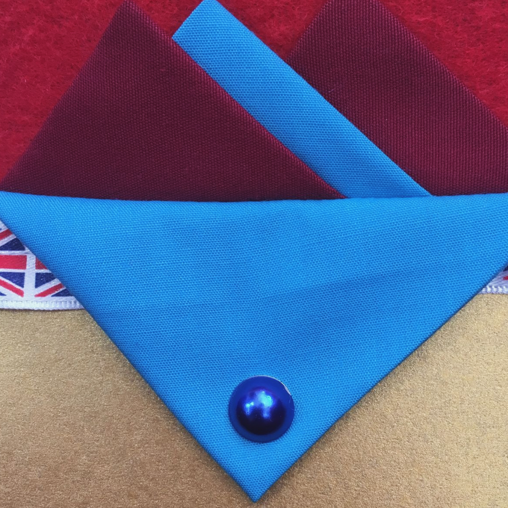 Burgundy And Blue Hankie With Blue Flap and Pin